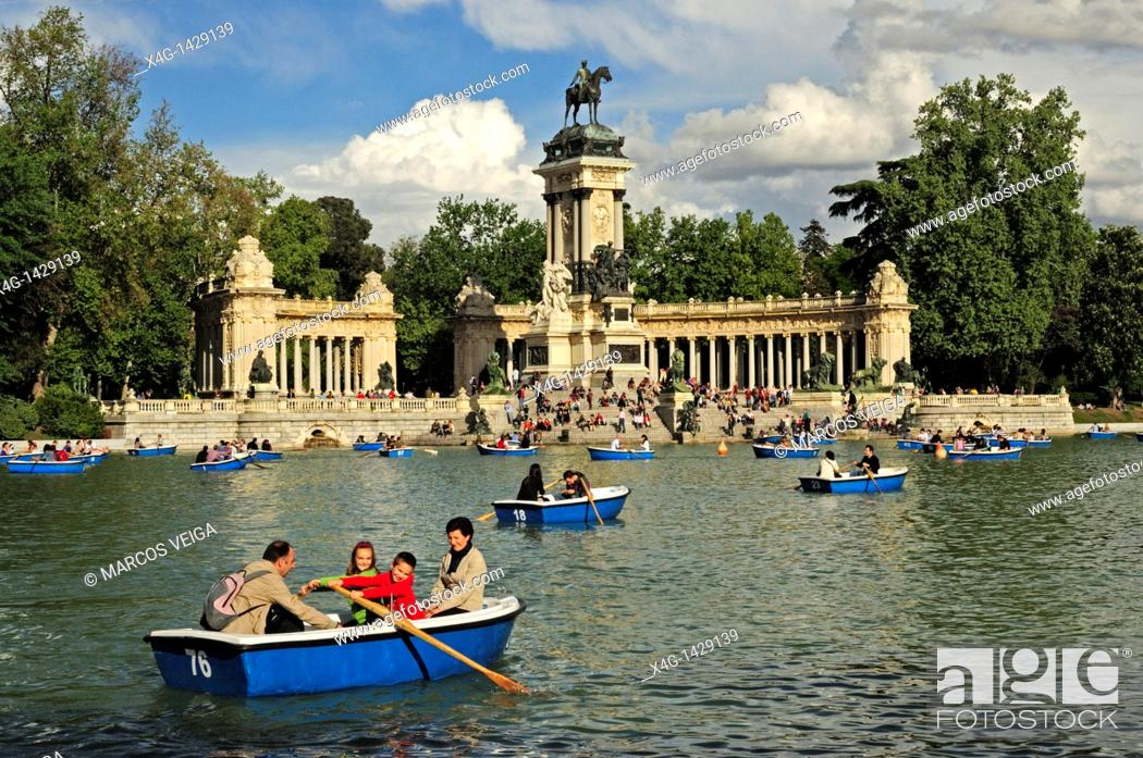 Stock Photo: Lake and Monument to Alfonso XII  El Retiro park, Madrid, Spain.