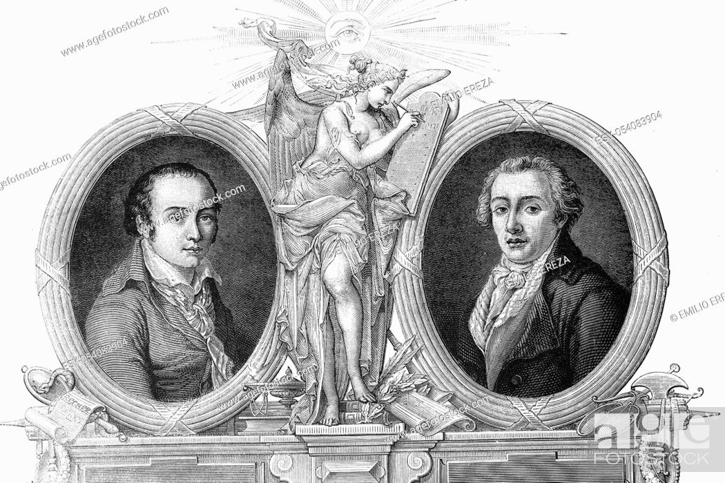 Stock Photo: Portrait of Andre Chenier, born 1762, died 1794, and Jean Antoine Roucher, born 1745, died 1794. French poets. Antique illustration, 1890.