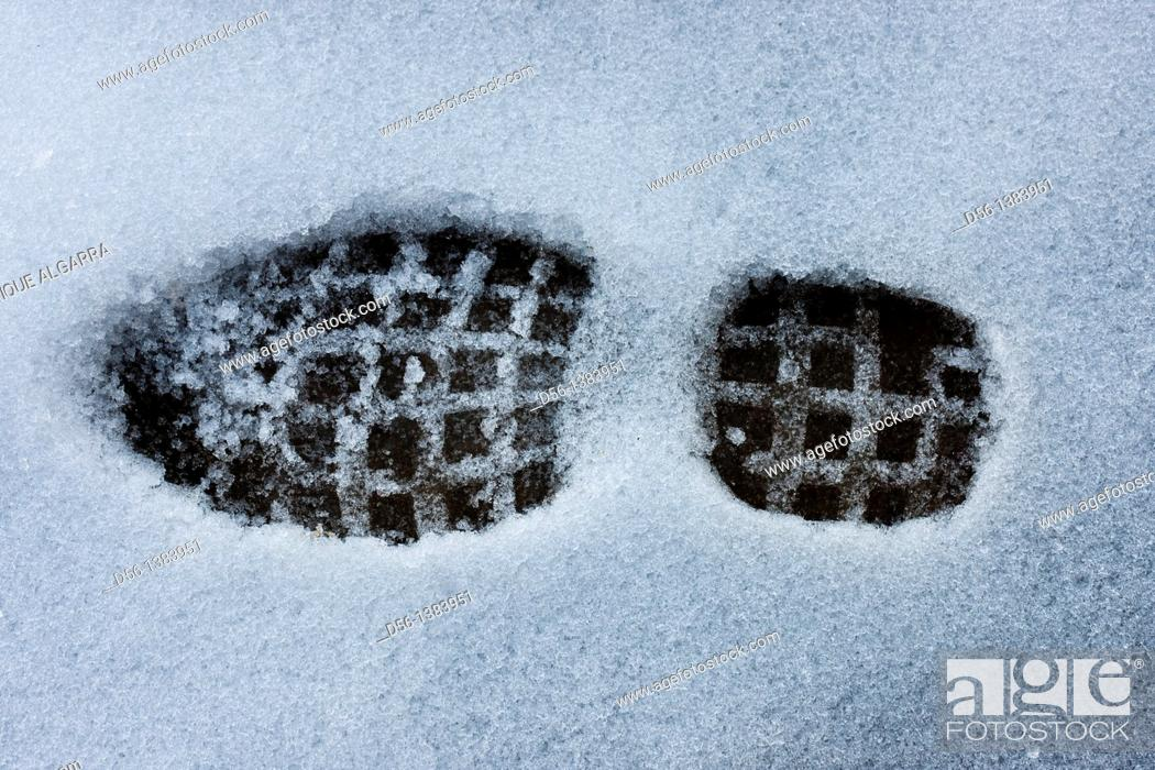 Stock Photo: Footprint on the snow.