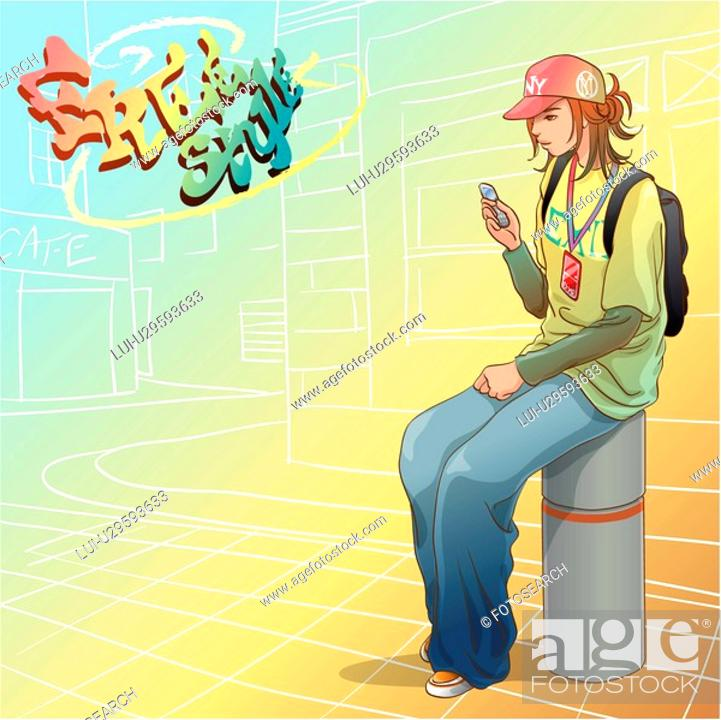 Stock Photo: waiting, hip hop clothing, street, city, casual clothing, hip hop style.