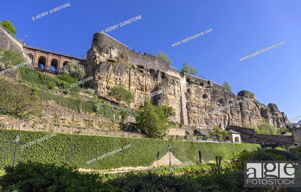 Stock Photo: Europe, Luxembourg, Luxembourg City, Casemates du Bock above the Alzette River and Valley.