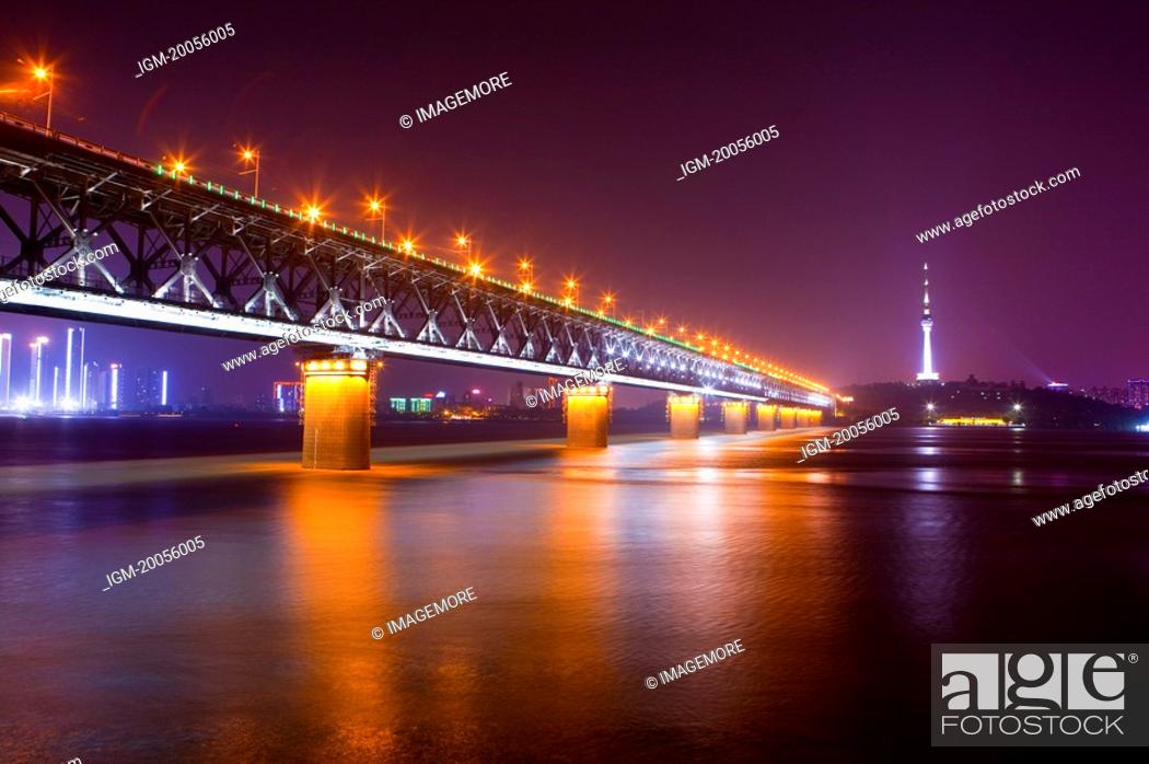 Stock Photo: China, Hubei Province, Wuhan, Wuchang, Wuhan Yangtze River Bridge, Nightlife.