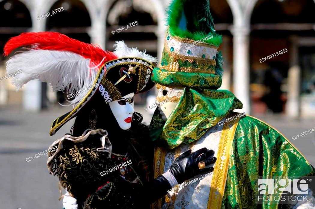 Stock Photo: Venetian carnival costumes.