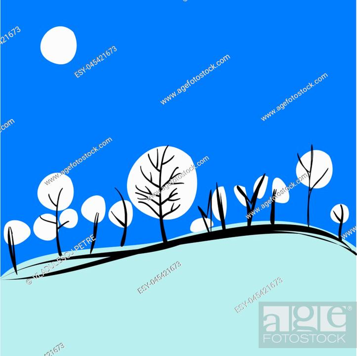 Stock Vector: winter on hills (trees covered with snow balls).