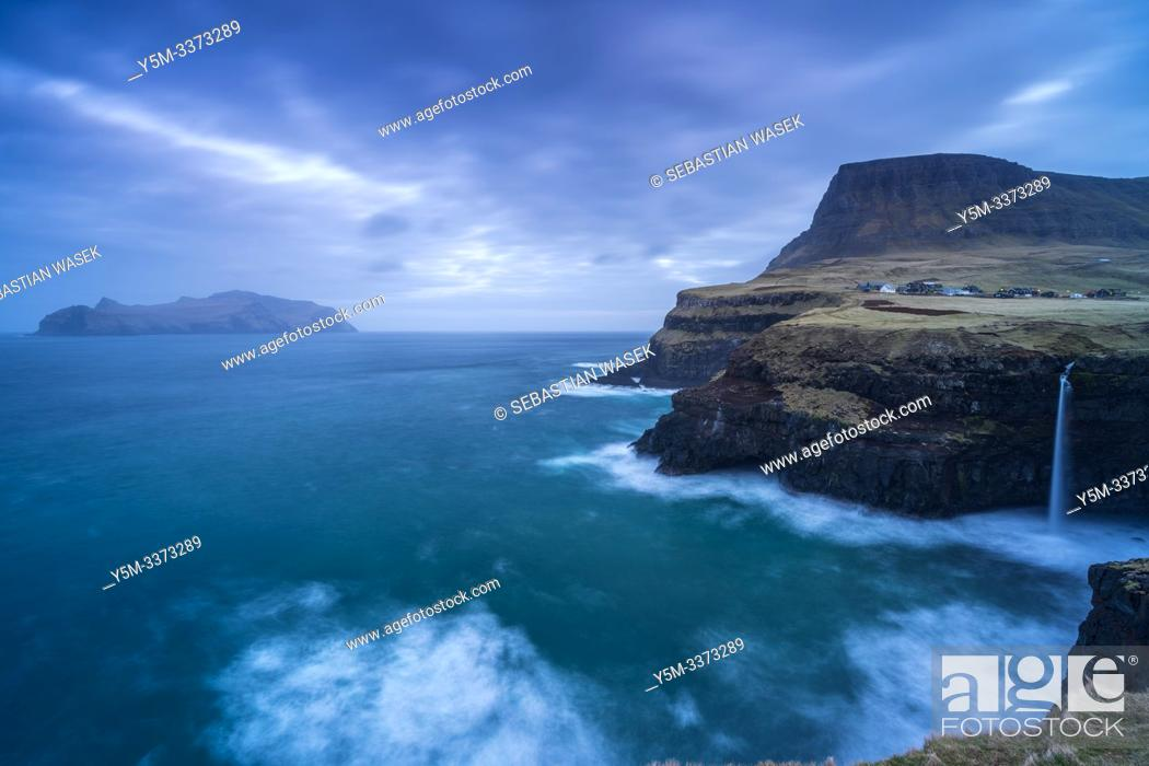 Stock Photo: Gasadalur waterfall, Vagar Island, Faroe Islands, Denmark, Europe.