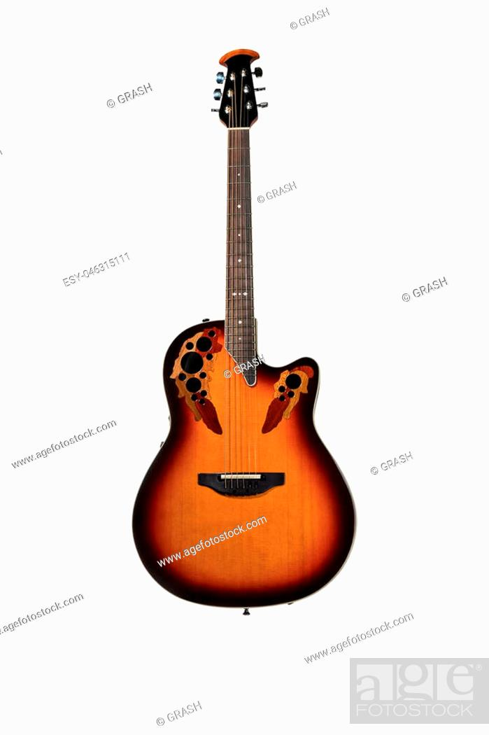 Stock Photo: Beautiful rock electric guitar with an ornament on a deck isolated on a white background.