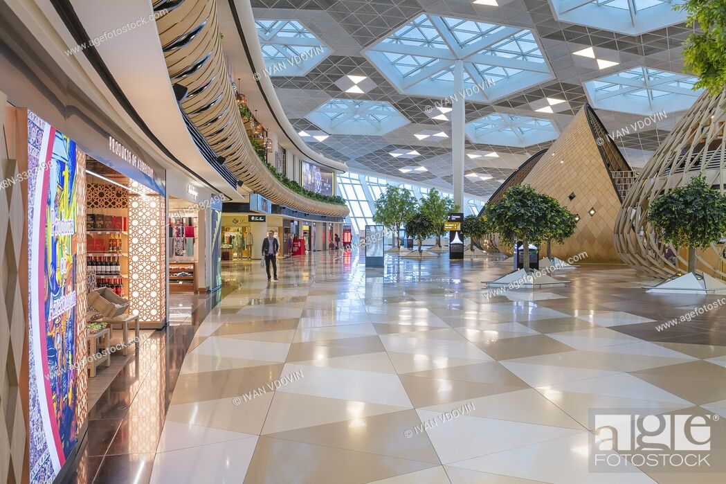 Stock Photo: Heydar Aliyev International airport interior, Baku, Azerbaijan.