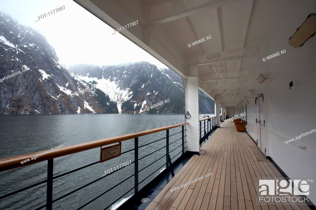 Stock Photo: View of Tracy Arm fjord from the walkway of a passenger ship, Alaska.