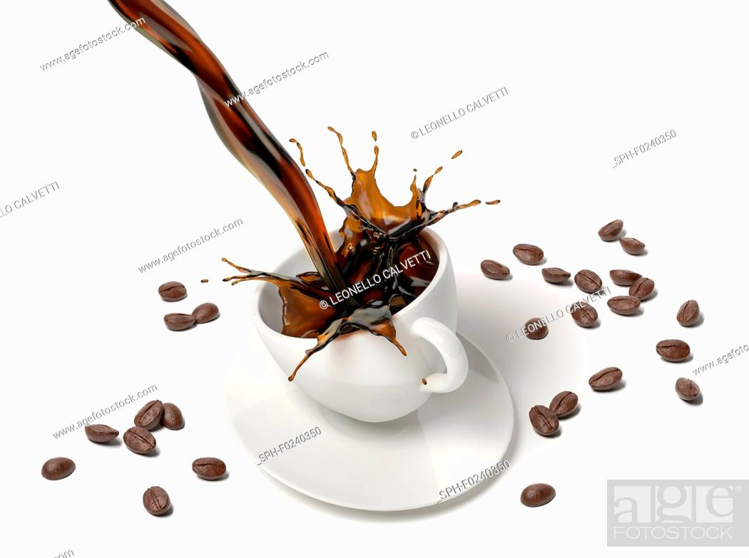 Imagen: Liquid coffee pour and splash in a white cup on saucer and spoon, With some coffee beans around on the floor. Viewed from above.