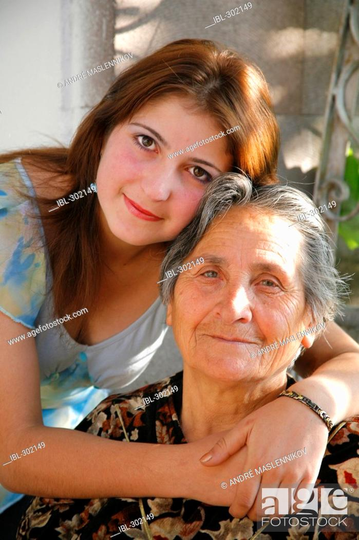 Stock Photo: A young woman with her grandmother. Armenia.
