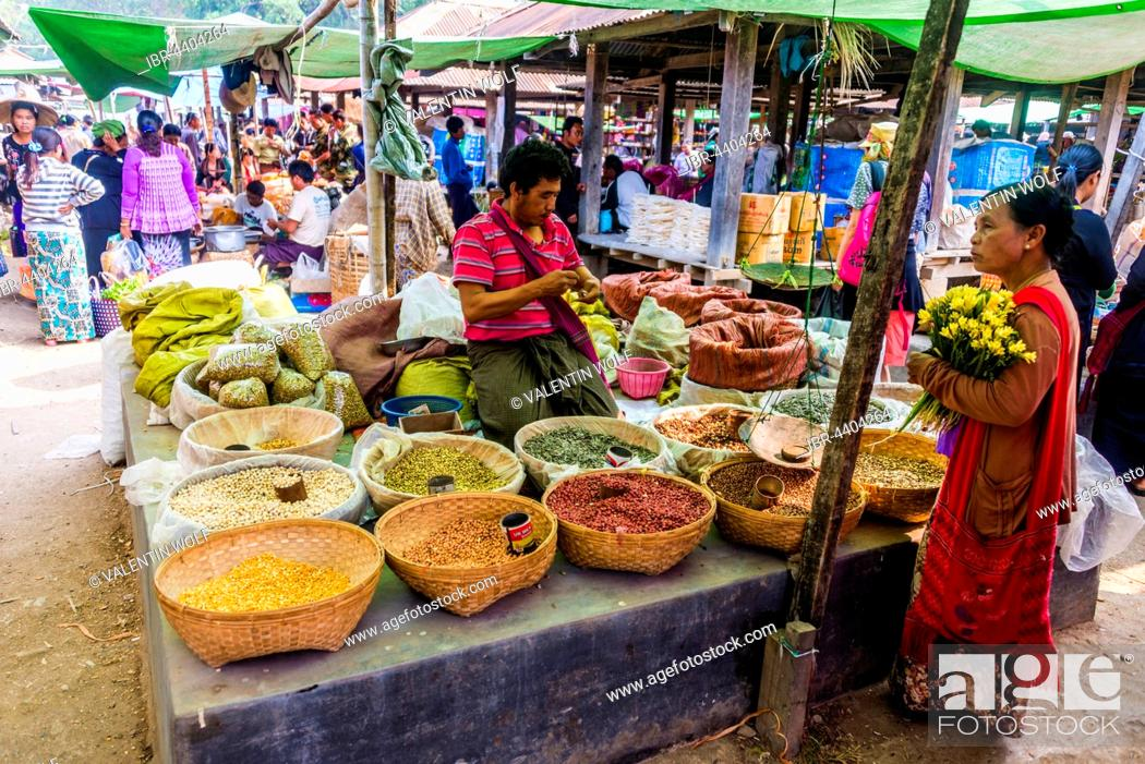 Stock Photo: Market stall with nuts, Nampan, Inle Lake, Shan State, Myanmar.