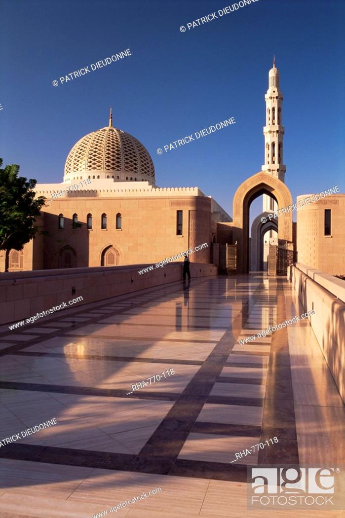 Stock Photo: The Grand Mosque Sultan Qaboos, built in 2001, Batinah region, Muscat, Oman, Middle East.