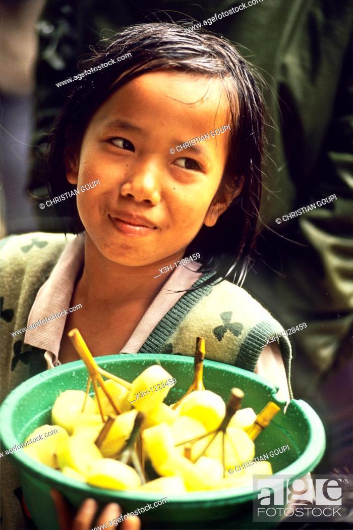 Stock Photo: little girl vendor of pineapple kebabs, Sumatra island, Republic of Indonesia, Southeast Asia and Oceania.