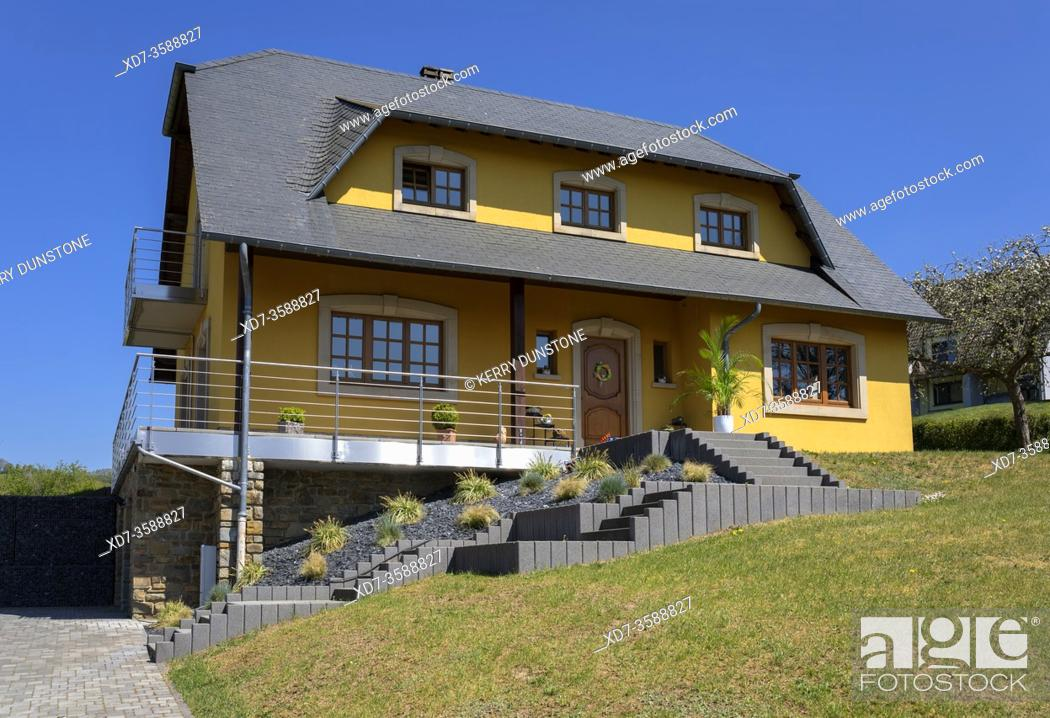 Stock Photo: Europe, Luxembourg, Diekirch, Lultzhausen, Typical Modern Detached Family House.