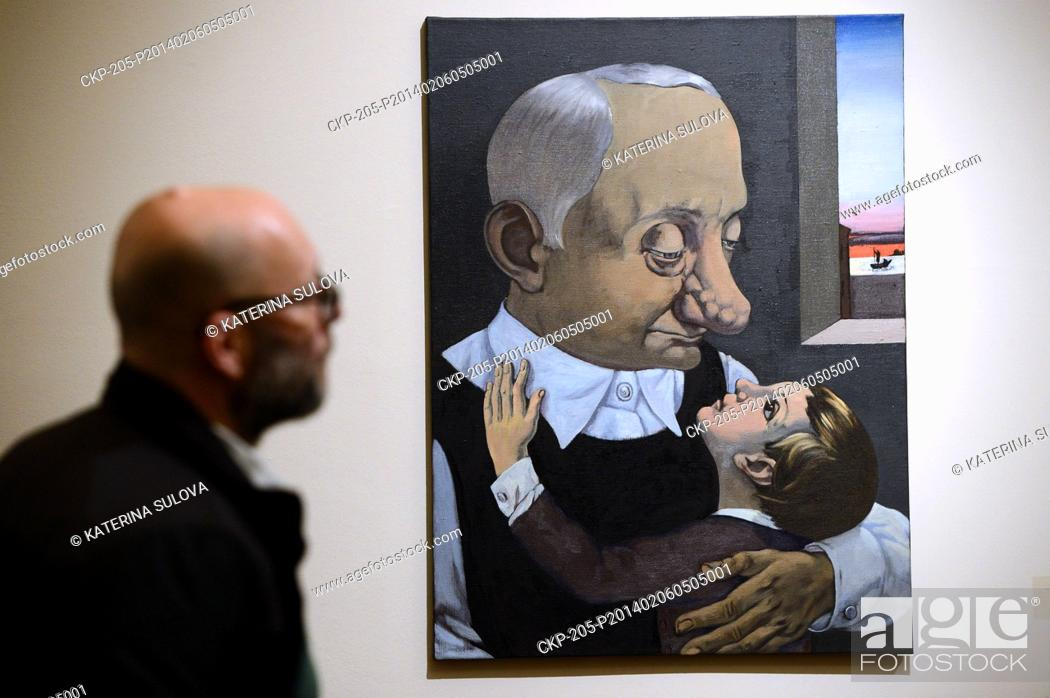 Stock Photo: The exhibition of the British artist Ged Quinn and of memmber of the Moscow Conceptual School Viktor Pivovarov on February 6.