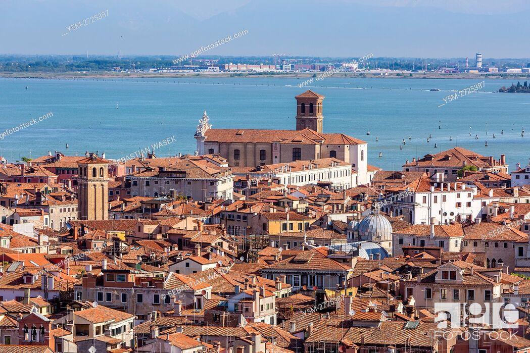 Stock Photo: Venice, aerial view from the Campanile di San Marco, Venice, Veneto, Italy, Europe.