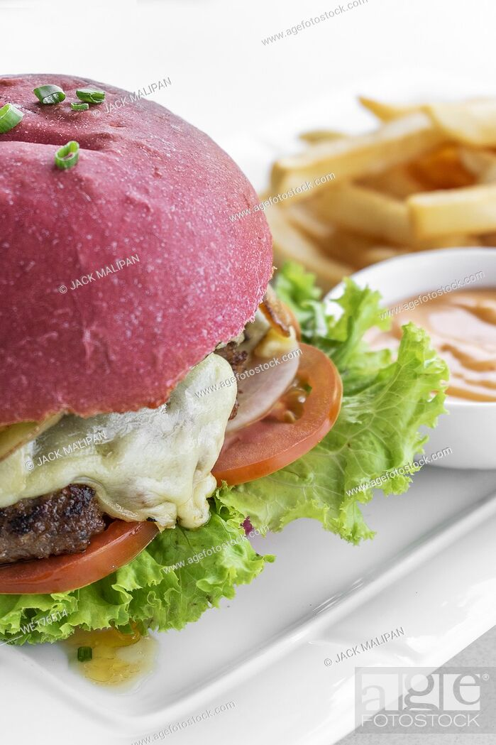 Stock Photo: beetroot red bun cheese burger snack set with fries and chilli mayo on white plate.