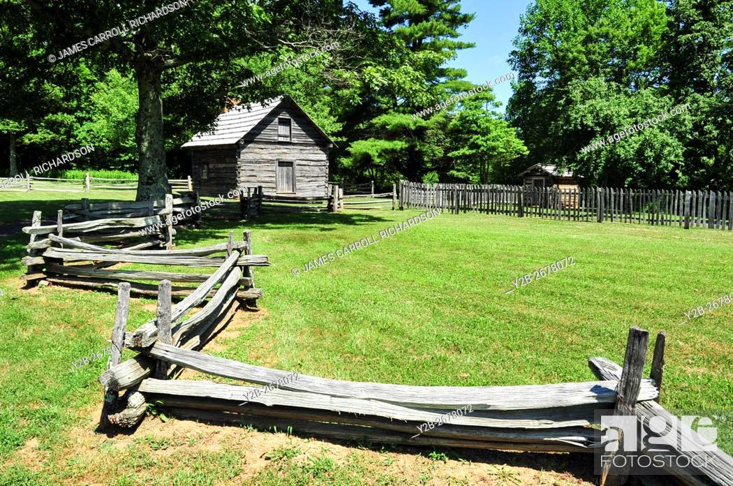 Stock Photo: Puckett Cabin along the Blue Ridge Parkway in Virginia.