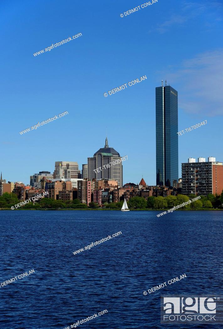 Stock Photo: Massachusetts, Boston, Charles river and city waterfront.