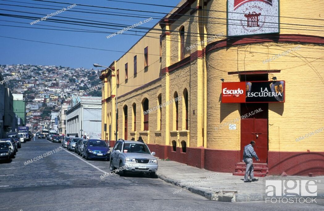 Stock Photo: Brasil Avenue, man walking, cars Valparaiso, Chile, South America.