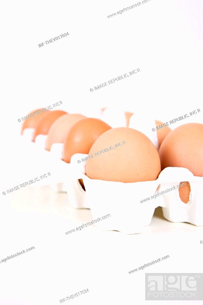 Stock Photo: eggs in case.