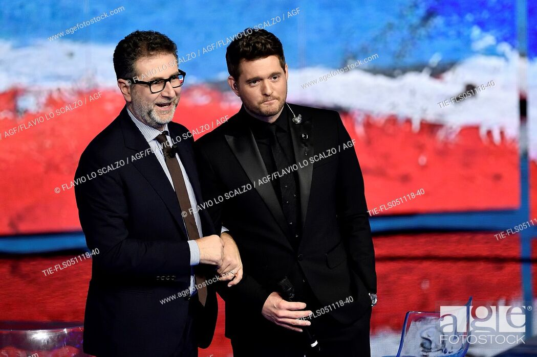 Imagen: Tv presenter Fabio Fazio, the singer Michael Buble' during the tv show Che tempo che fa, Milan, ITALY-04-11-2018.