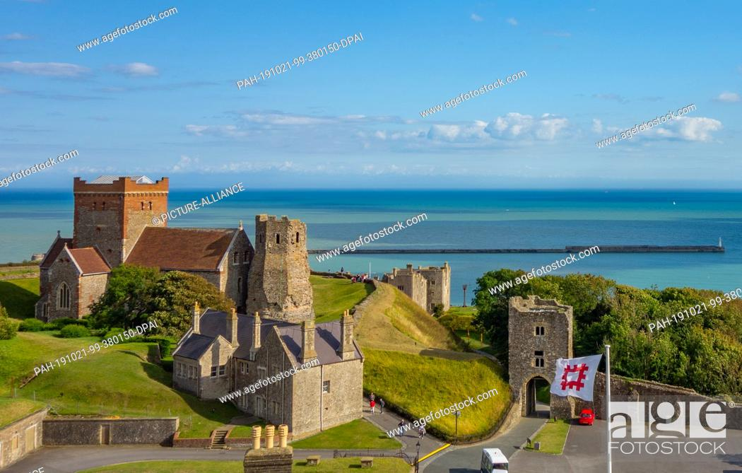 Stock Photo: 15 August 2019, England, Dover: Dover Castle is one of the largest castles in England. Photo: Patrick Pleul/dpa-Zentralbild/ZB. - Dover/England.