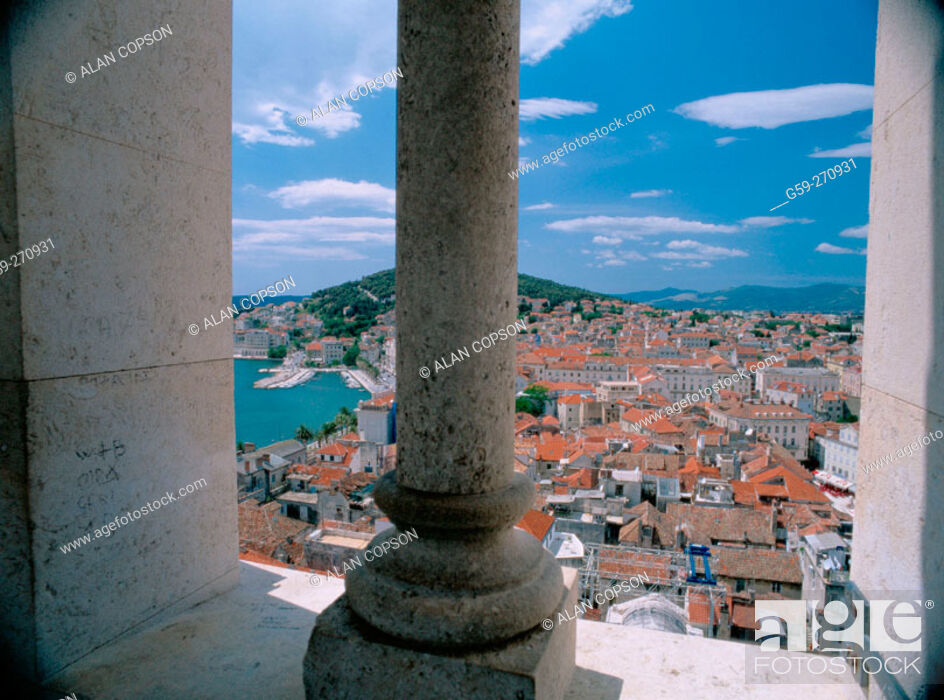 Stock Photo: Split from the Cathedral of St. Domnius Tower. Dalmatia. Croatia.