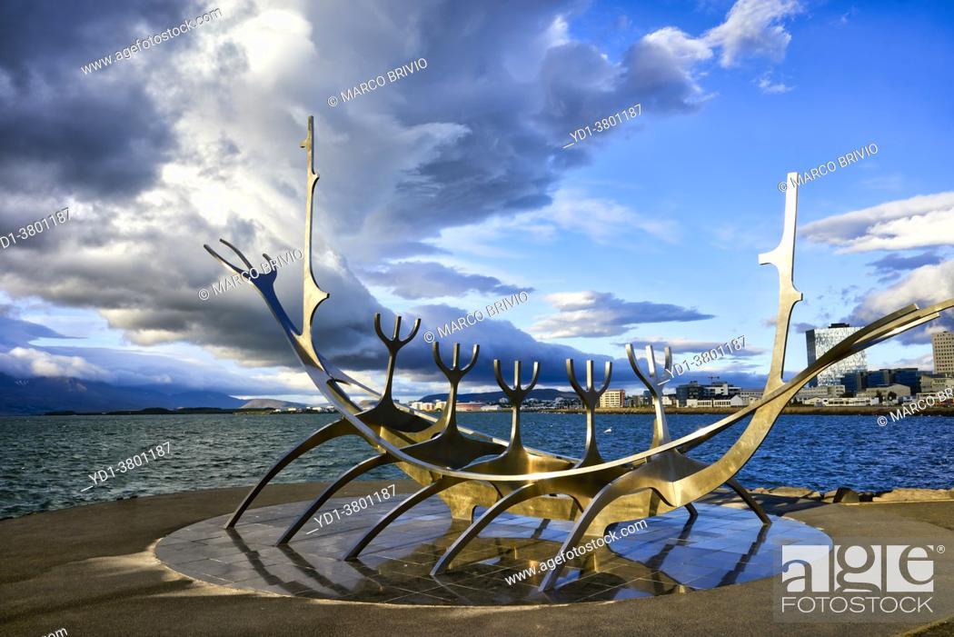 Stock Photo: The Sun Voyager statue. Reykjavik. Iceland.