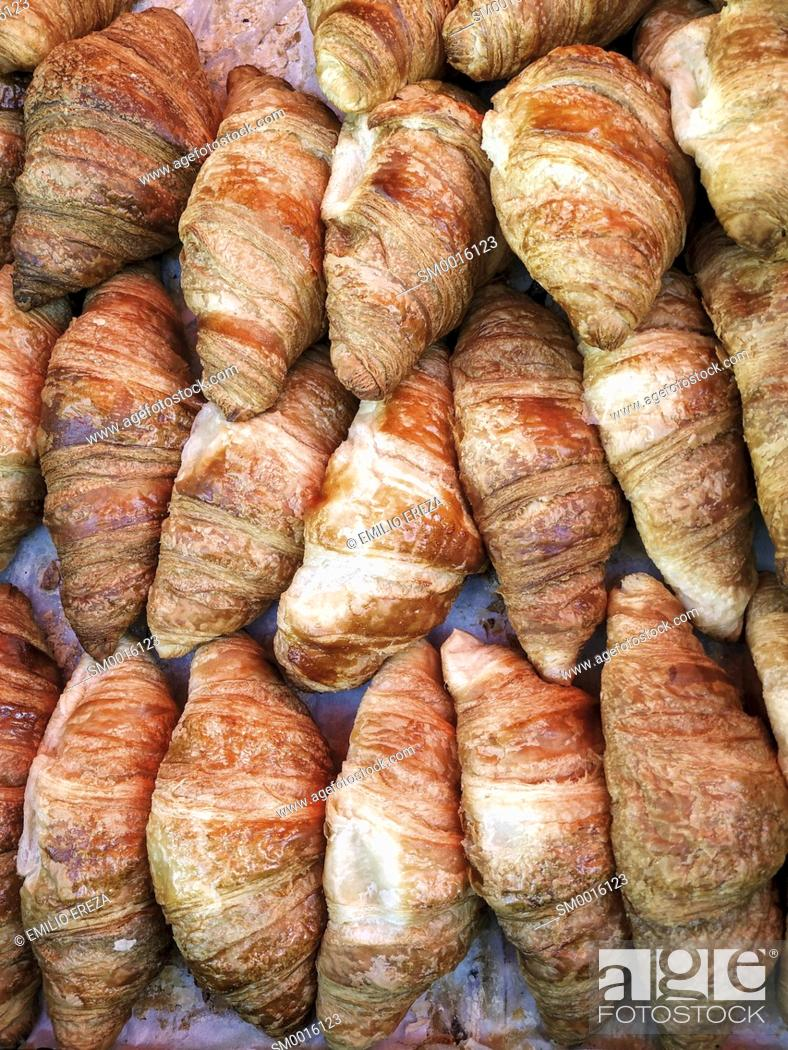 Stock Photo: Croissants for sale.