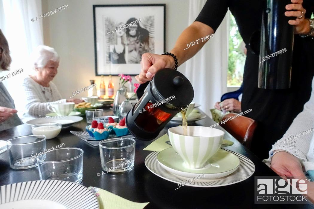 Stock Photo: Fika, coffee, club for retirees to help them socialize and get out, Stockholm, Sweden.