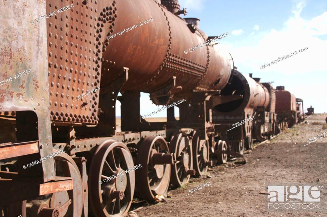 Stock Photo: Rusted trains at Uyuni, Bolivia.
