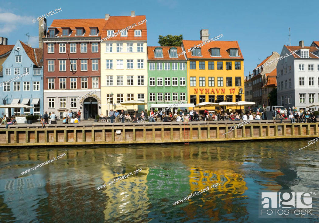 Stock Photo: Typical architecture and boats at Nyhavn canal, Copenhagen, Denmark.