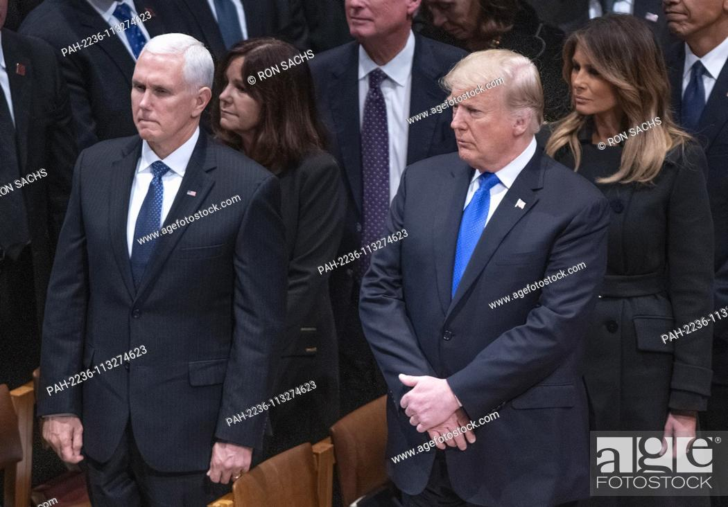 Stock Photo: United States President Donald J. Trump, second right, first lady Melania Trump, right, US Vice President Mike Pence, left, and Karen Pence, second left.