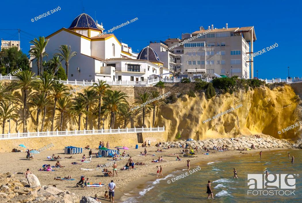 Stock Photo: View of a blue dome of a church closed to Benidorm beach, Alicante north, Spain.