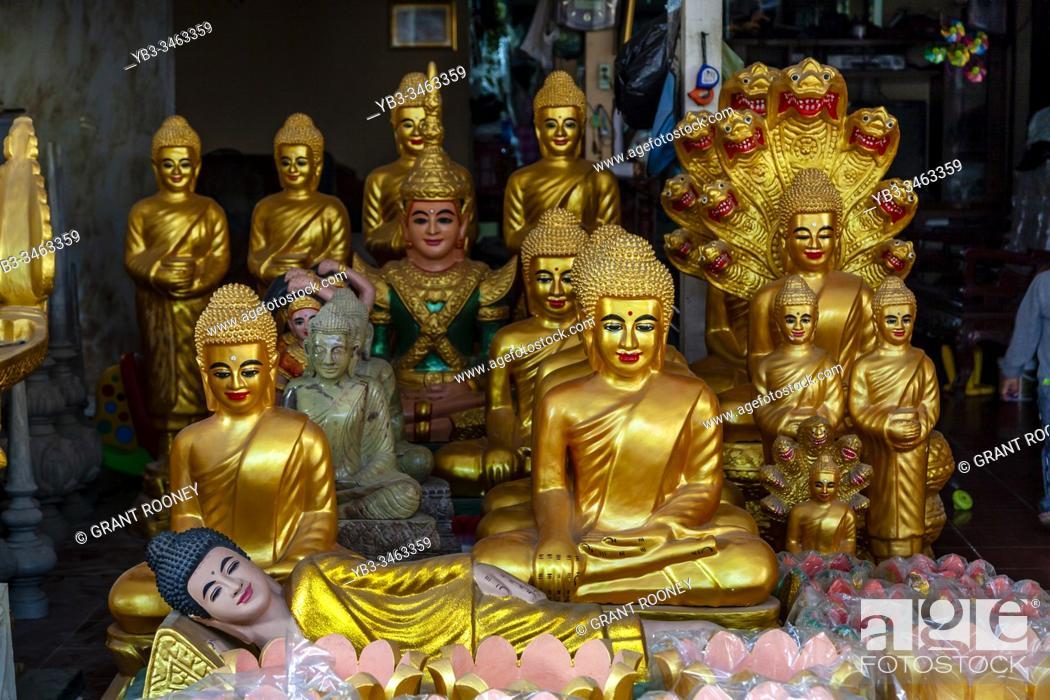 Stock Photo: Buddhas On Display At The Prayuvong Buddha Factories, Phnom Penh, Cambodia.