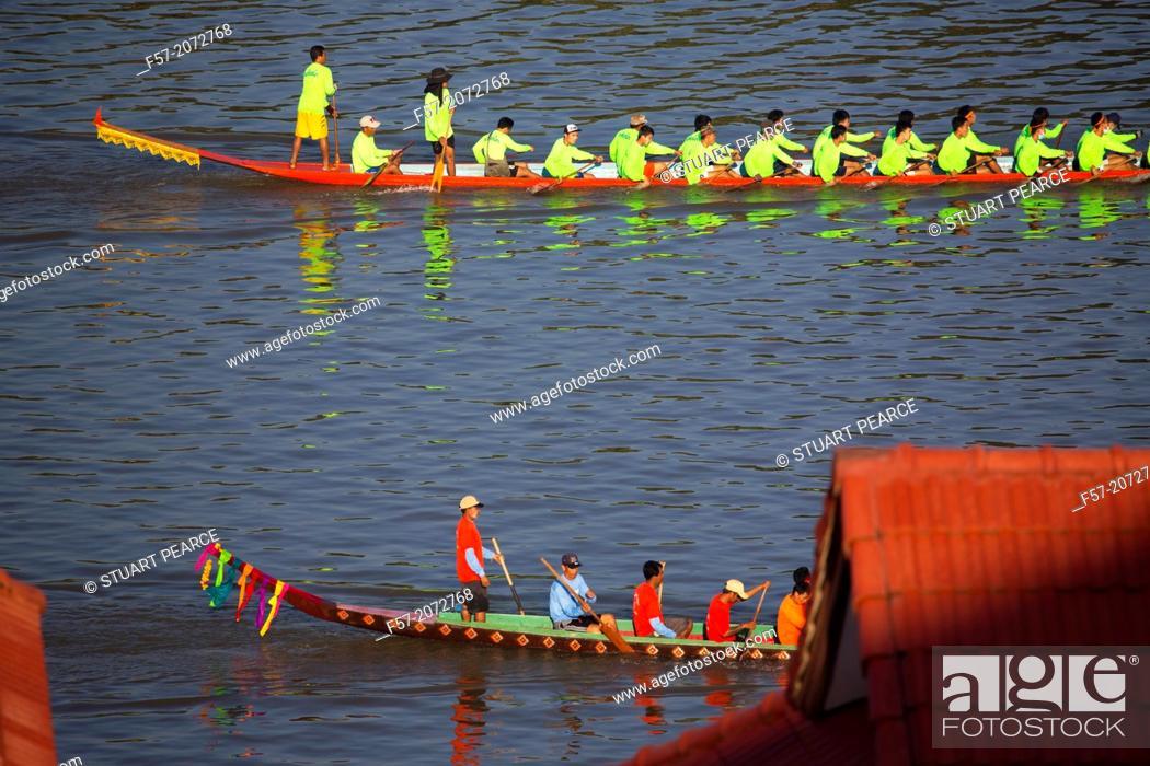 Stock Photo: The boat race festival in Paske, Laos.