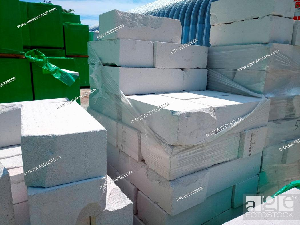 Stock Photo: Storage of the gas block at the construction base for storage.