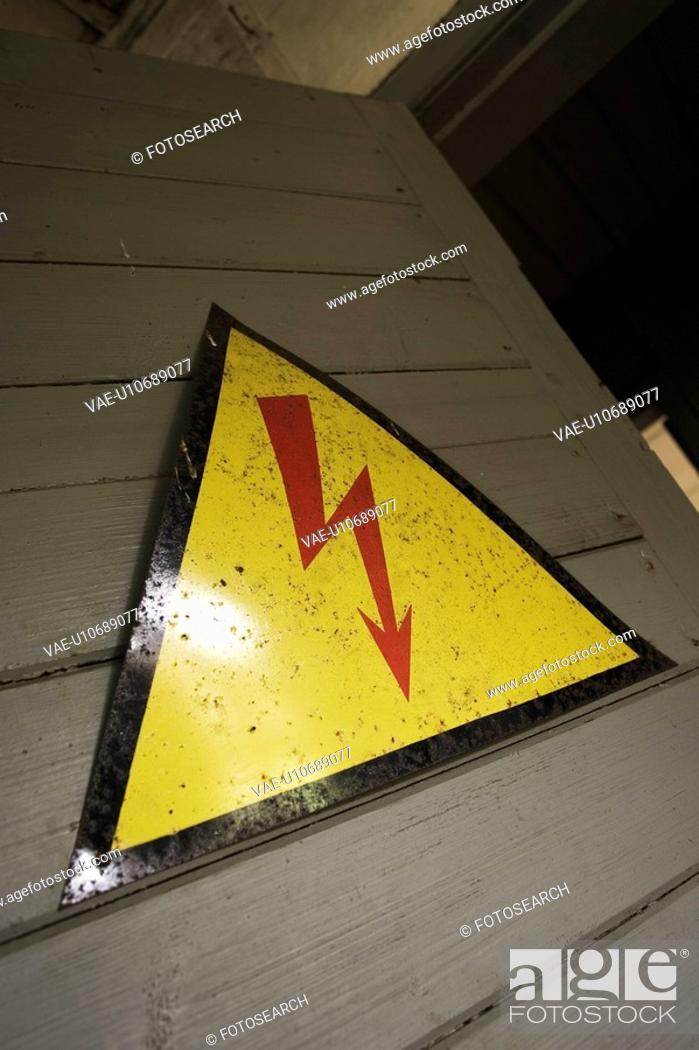 Stock Photo: Attached, Door, Caution, Board, Arrow.