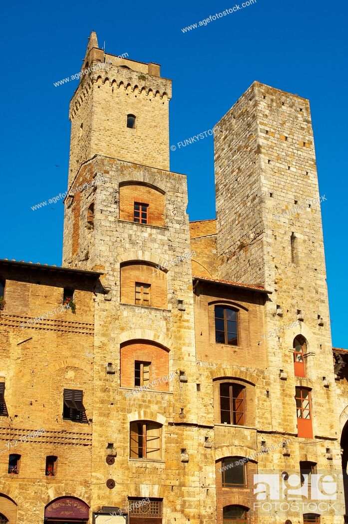 Stock Photo: Medieval houses around Plazza Cisterna - San Gimignano - Italy.