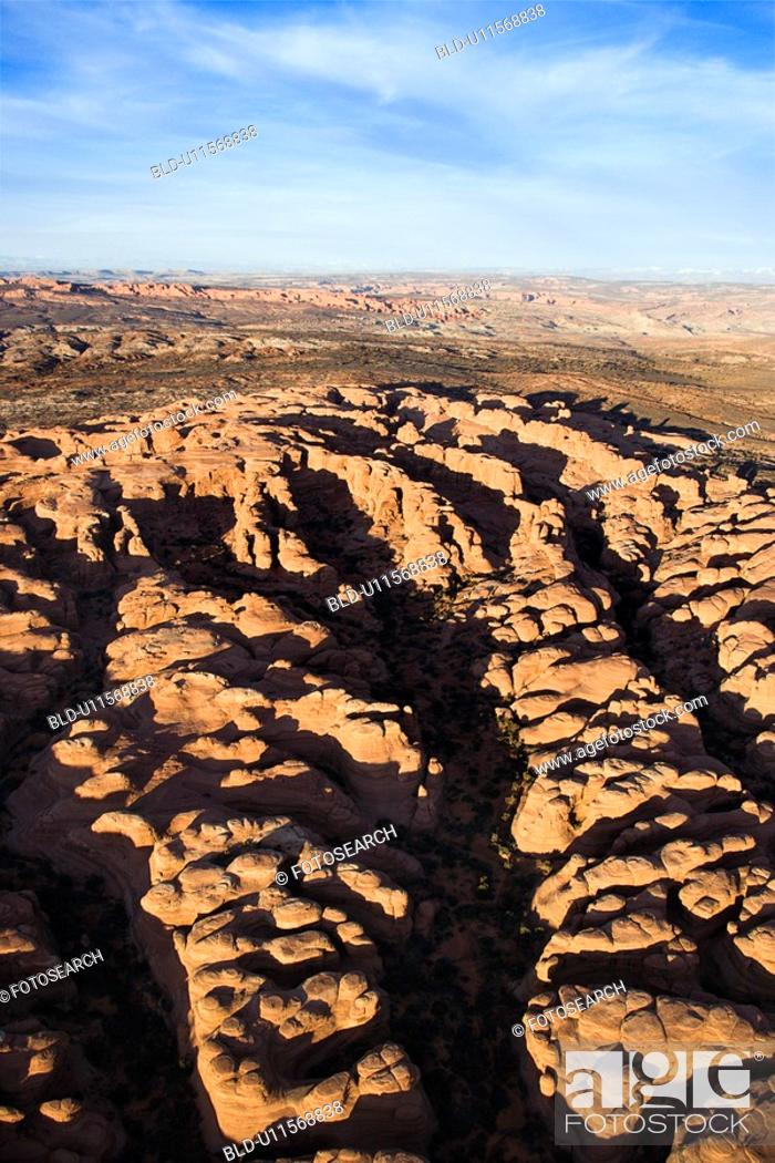 Stock Photo: Aerial landscape of canyon in Arches National Park, Utah, United States.