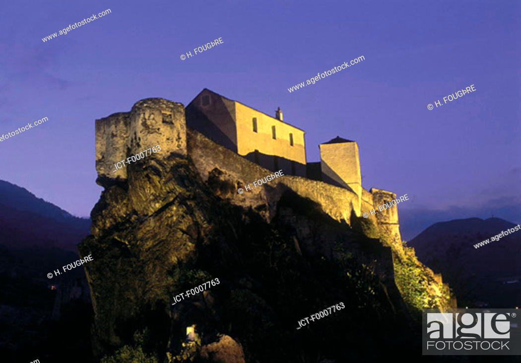 Stock Photo: France, Corsica, Corte, citadel by night.