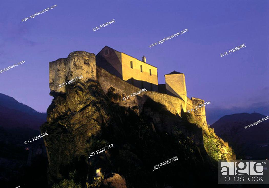 Stock Photo: France, Corsica, Corte, citadel by night.