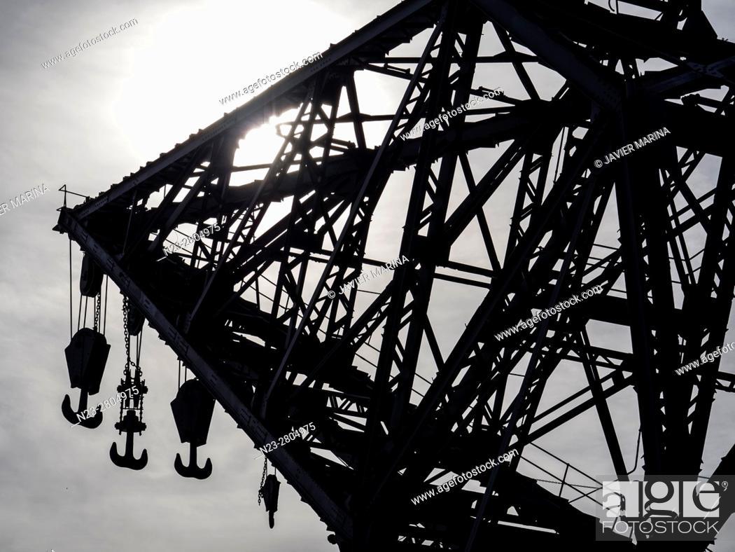 Stock Photo: Crane in the port, Valencia, Spain.