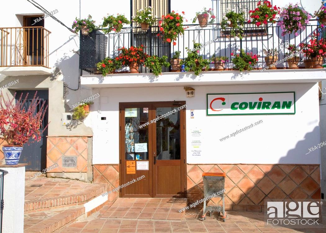 Stock Photo: Coviran village shop in Comares, Malaga province, Spain.