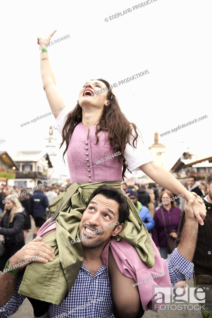 Stock Photo: couple at Oktoberfest in Munich, Bavaria, Germany.