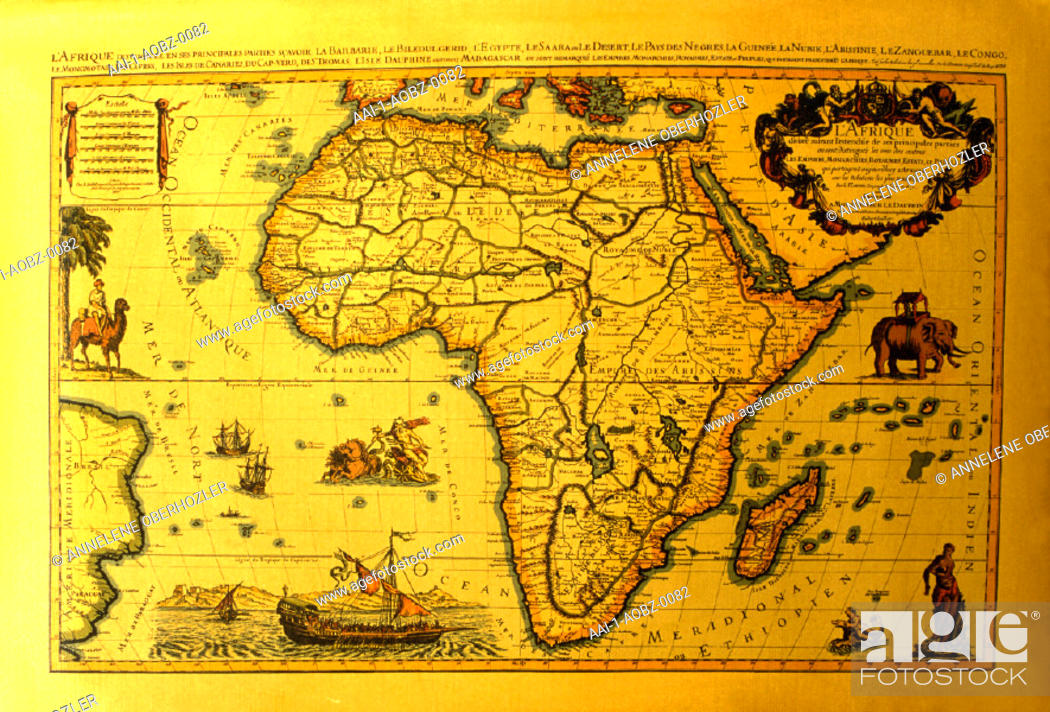 An old map of africa in the village museum stellenbosch western stock photo an old map of africa in the village museum stellenbosch western cape south africa gumiabroncs Choice Image