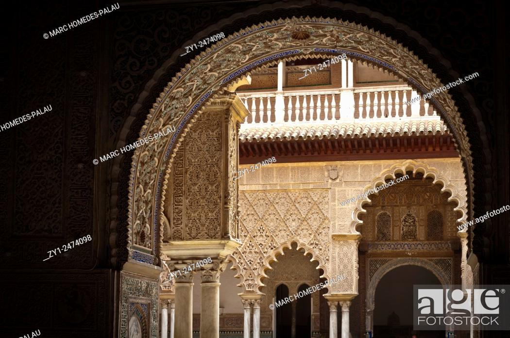 Stock Photo: Interior view of rooms of the Alcazar palace (Seville).