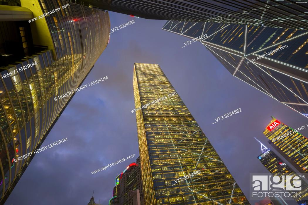 Stock Photo: Central financial district, Hong Kong, China.
