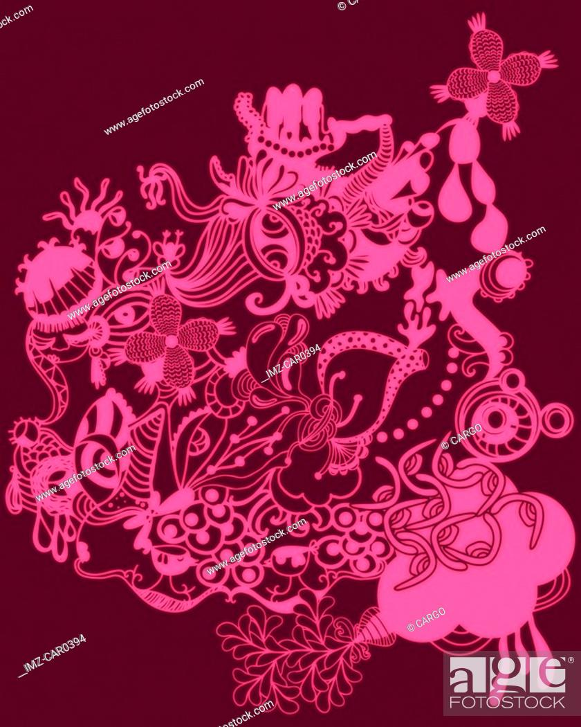 Stock Photo: Pink floral pattern and shapes.